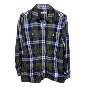 Equipment Femme Monroe Flannel Jacket Green Plaid